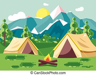 Vector illustration cartoon camping