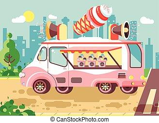 Vector illustration cartoon car with refrigeration unit,...