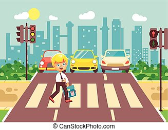 Vector illustration cartoon character child, observance traffic rules, lonely blonde boy schoolchild schoolboy go to road pedestrian zone crossing, city background back to school flat style