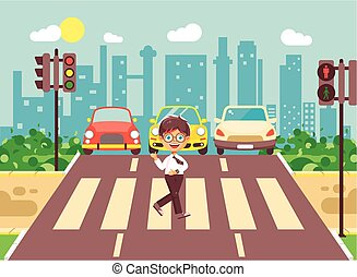 Vector illustration cartoon character child, observance traffic rules, lonely brunette boy schoolchild schoolboy go to road pedestrian zone crossing, city background back to school flat style