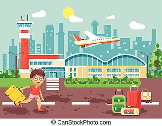 Vector illustration cartoon character late delay boy runs to...