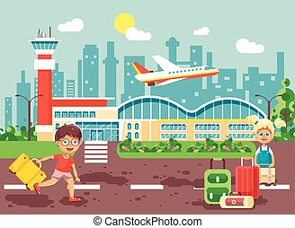 Vector illustration cartoon character late boy run to little blonde girl standing at airport, departing plane, bag suitcases awaiting for travel trip holiday weekend flat style city background