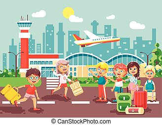 Vector illustration cartoon character late boy run to little children girl standing at airport, departing plane, bag suitcases awaiting for travel trip holiday weekend flat style city background