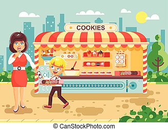 Vector illustration cartoon characters child pupil schoolboy seller boy sales to woman muffin, cupcake, cake, sweet, pastries, biscuit manufactures of baking cookies, cooking business flat style