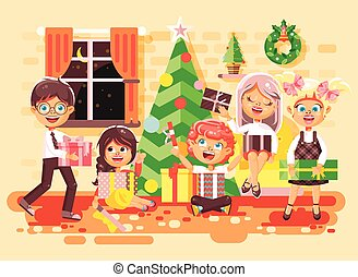 Vector illustration cartoon characters children, boys and...