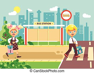 Vector illustration cartoon characters children, observance traffic rules, boy and girl schoolchildren classmates go to road pedestrian crossing, bus stop background back to school in flat style