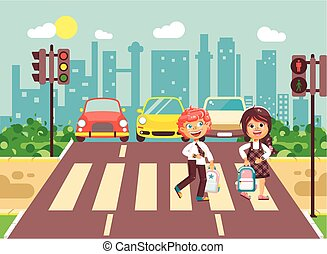 Vector illustration cartoon characters children, observance traffic rules, boy and girl schoolchildren classmates go to road pedestrian zone crossing, city background back to school flat style