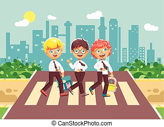 Vector illustration cartoon characters children, observance traffic rules, boy schoolboys, classmates pupils go to road pedestrian zone crossing, on city background, back to school in flat style