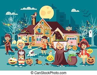 Vector illustration cartoon characters children Trick-or-...