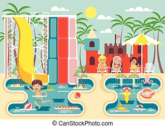 Vector illustration cartoon characters lonely boy swimming pool near water slide, frolicking, resting in aqua park, water attractions, children sitting deckchairs under sun umbrella flat style