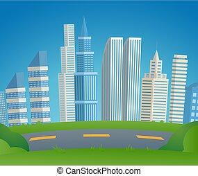 Vector Illustration Cartoon Cityscape Metropolis