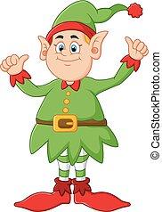 cartoon elf giving two thumbs up