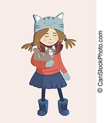 Vector illustration. Cartoon girl holding a cat. Suitable for postcards