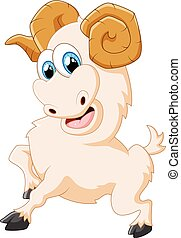 Cartoon happy animal goat posing