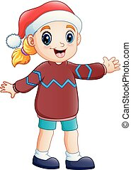 Cartoon happy girl in winter clothes