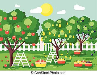 Vector illustration cartoon harvesting ripe fruit autumn...