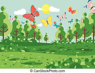 Vector illustration cartoon landscape of clearing, meadow, grassland, field, grass, lea, mead with trees lawn colorful butterflies, nature outdoor background flat style for banner, motion design