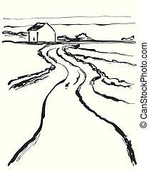 Vector illustration. Cartoon landscape with road. Sketch
