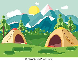 Vector illustration cartoon nature national park landscape with two tents camping hiking rules of survival bushes, lawn, trees, daytime sunny day, outdoor background of mountains in flat style