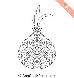 Vector illustration cartoon onion with floral ornament. Coloring book page