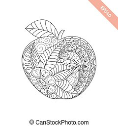 Vector illustration cartoon ornate apple. Coloring book page