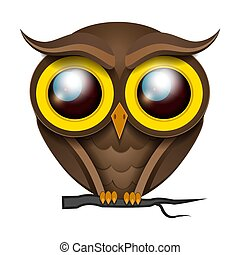 Illustration Cartoon Owl On A Tree Branch