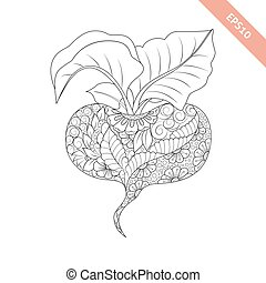 Vector illustration cartoon red beet with floral ornament. Coloring book page