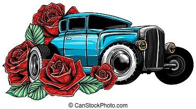 Vector illustration Cartoon Retro Hot Rod design art