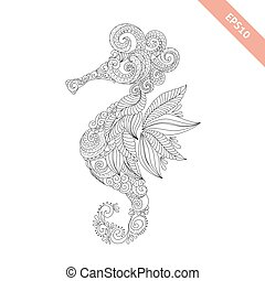 Vector illustration cartoon sea-horse with floral doodle ornament. Design for coloring book page. Decorative element