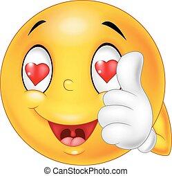 Cartoon smiley love face