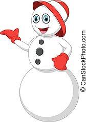 cartoon snowman presenting