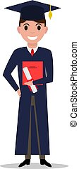 Vector illustration cartoon student boy graduate