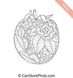 Vector illustration cartoon tomatoe with floral ornament. Coloring book page