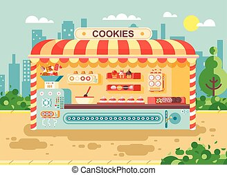 Vector illustration cartoon urban stall cooking business