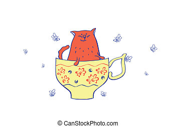 vector illustration cat and teacup