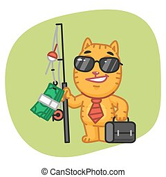 Cat Businessman Holding Fishing Rod with Money - Vector...