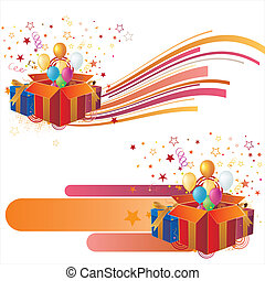 vector illustration-celebration ele - gift box, balloon, ...