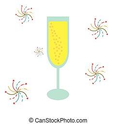 champagner glasses symbol flat design isolated on white background