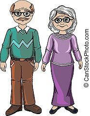 Vector illustration character design elderly senior grandmother and grandfather happy together, Old couple love. Isolated on white color. Draw doodle cartoon style.