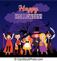 Vector Illustration children in costume monsters of Halloween on night party