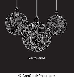 Vector illustration. Christmas ball made from rectangles on black background.