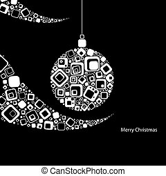 Vector illustration. Christmas ball made from rectangles on black background with element of Christmas tree