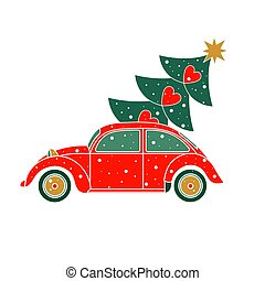Vector illustration Christmas car.