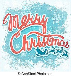 Vector illustration - Christmas sign with Santa and deer