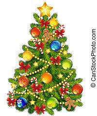 Christmas tree - Vector illustration - Christmas tree