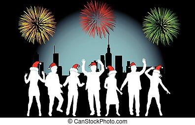 Vector Illustration - City Celebration People