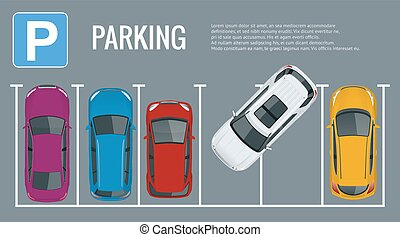 Vector illustration city parking lot with a set of different...