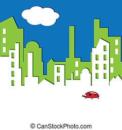 vector, illustration., cityscape.