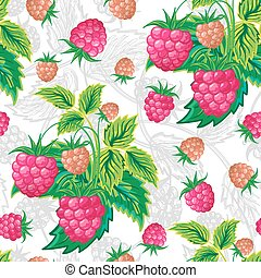 vector illustration. Classic colorful seamless pattern of raspberries.