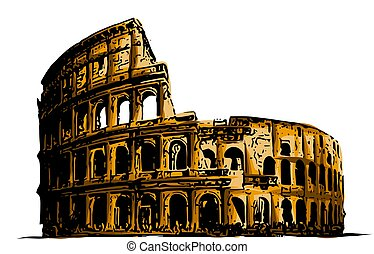 vector illustration Coliseum. Italy Attractions art building history